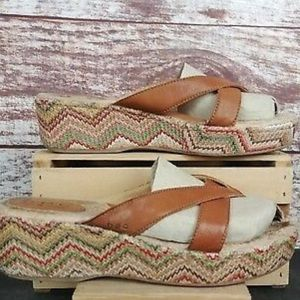 B.o.c Brown Leather Strappy Chevron Wedge Sandals